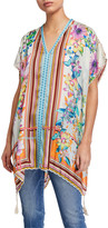 Johnny Was Plus Size Petite Stellar Printed Short-Sleeve Poncho Top w/ Tassels