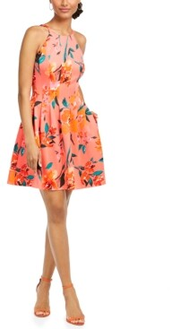 Vince Camuto Petite Fit & Flare Halter Dress
