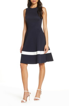 Eliza J Textured Knit Fit & Flare Dress