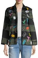 Libertine Tie-Dye Army Jacket with Letter Embroidery