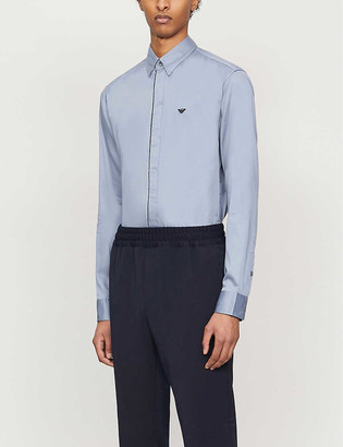 Emporio Armani Contrast-piping slim-fit stretch-cotton shirt