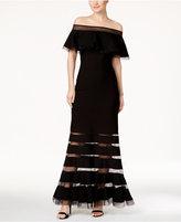 Tadashi Shoji Ruffled Off-The-Shoulder Gown