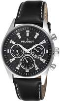 Peugeot Men's Multi Dial Chronograph Sport Watch with Black Leather Band 2048SBK