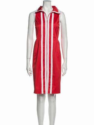 Oscar de la Renta Striped Knee-Length Dress Red