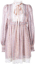 Marc Jacobs paisley stripe gauze long sleeve dress - women - Silk/Cotton - 4