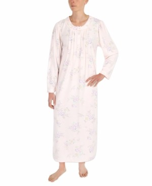 Miss Elaine Printed Honeycomb Pointelle Knit Long Nightgown