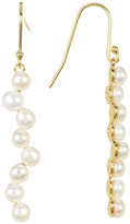 Argentovivo 18K Gold Plated Sterling Silver 4mm Genuine Freshwater Pearl Stick Drop Earrings