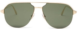Cartier Eyewear - Screw-engraved Metal Aviator Sunglasses - Womens - Green Gold