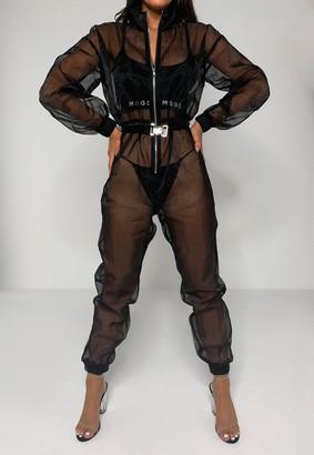 Missguided Black Organza Sheer Buckle Jumpsuit