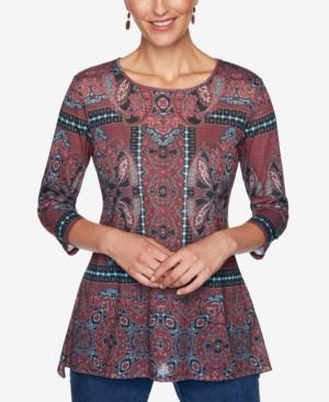 Ruby Rd. Women's Plus Size Paisley Kaleidoscope Border Print Top