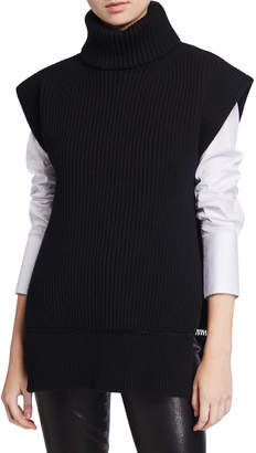 Alexander McQueen Turtleneck Split-Back Wool-Cashmere Ribbed Sweater