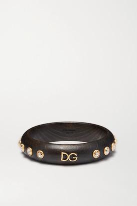 Dolce & Gabbana Gold-tone, Wood And Crystal Bangle - Dark brown