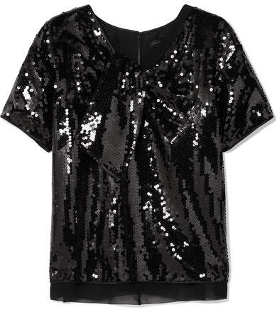 Marc Jacobs Satin-paneled Sequined Georgette Top - Black