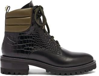 Fabrizio Viti - Dolomite Daisy-heel Crocodile-effect Leather Boots - Black Multi