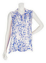As Is Susan Graver Crinkled Chiffon Button Front Sleeveless Top
