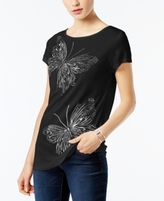 INC International Concepts Petite Embroidered Butterfly Top, Created for Macy's