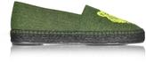 Kenzo Fluo Green Canvas Mix Tiger Espadrilles