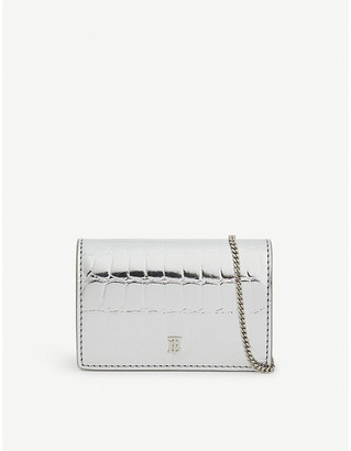 Burberry Jessie croc-embossed card case with chain