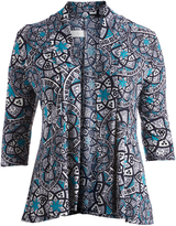 Glam Black & Blue Abstract Open Cardigan - Plus