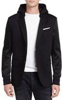 Neil Barrett Mixed-Media Hooded Blazer Jacket, Black