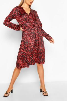 boohoo Leopard Button Front Midi Dress