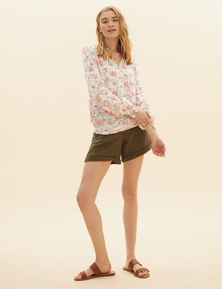 Marks and Spencer Floral Tie Front Long Sleeve Blouse