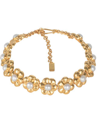 Valére VALERE Fleur Pearl and 24K Gold-Plated Choker