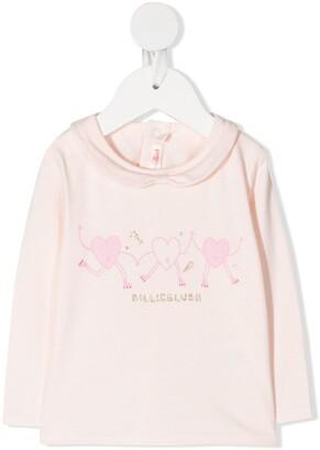 Billieblush Heart-Print Round Collar Top