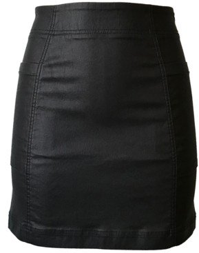 Tinseltown Juniors' Coated Denim Mini Skirt