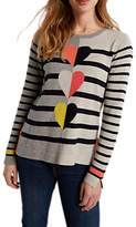 White Stuff Trio Heart Stripe Jumper, Mutli/Grey