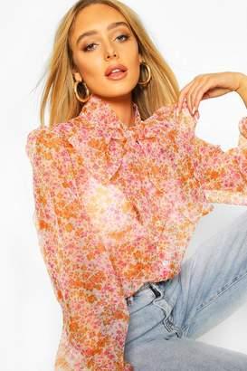 boohoo Ditsy Floral Print Pussybow Organza Mesh Shirt