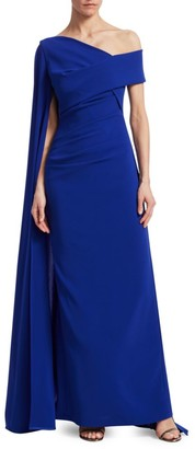Talbot Runhof Off-The-Shoulder Cape Gown