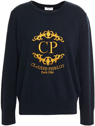Claudie Pierlot Embroidered Wool And Cashmere-blend Sweater