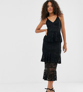 Little Mistress Tall lace tiered midi dress in black