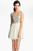 As U Wish Sequin Tulle Cutout Dress (Juniors)