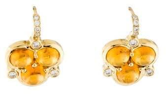 18K Diamond-Accented Amber Trio Drop Earrings