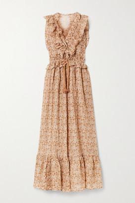 Yvonne S Marie Antoinette Ruffled Floral-print Linen Maxi Dress - Sand