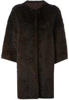Liska - cashmere loose fit coat - women - Mink Fur/Cashmere - L