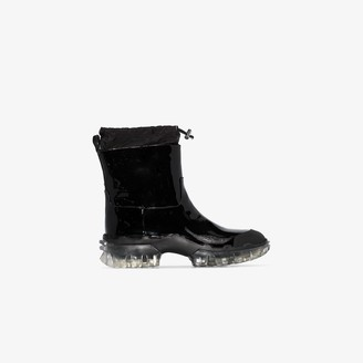 Moncler Black Halma patent leather snow boots
