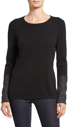 Neiman Marcus Cashmere Long-Sleeve Crewneck Sweater with Metallic Cuffs