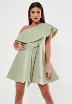 Missguided Green Frill Shoulder Scuba Skater Dress