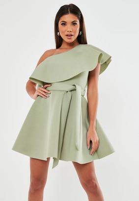 Missguided Green Frill Shoulder Scuba Skater Dress