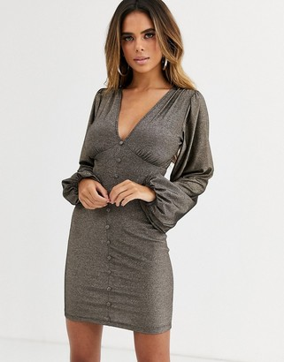 Asos Design DESIGN long sleeve plunge mini dress with buttons in glitter-Gold