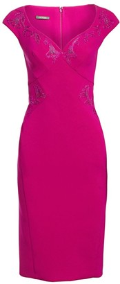 Zac Posen Cap Sleeve Embellished Cocktail Dress