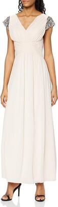 Little Mistress Women's Nude Jewel Sleeve Maxi Dress Cocktail Plain V-Neck Short Sleeve Party Dress
