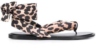Ganni Leopard Print Wraparound Tie Sandals