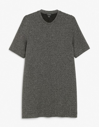 Monki Izzy glitter mini dress in black