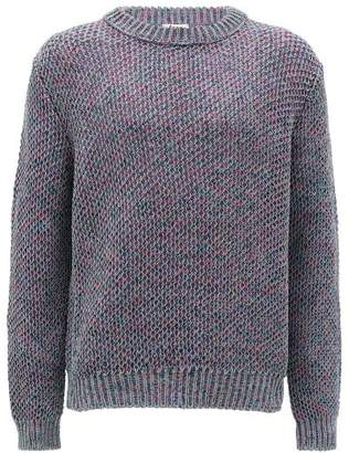 Acne Studios Crew-neck Cotton-blend Sweater - Mens - Purple Multi