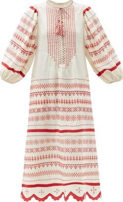 Vita Kin Belarus Beaded Embroidered Linen Dress - Red White