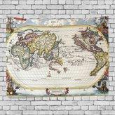 JSTEL Home Fashion Custom Old Vintage World Map Tapestry Wall Decor Living Room, Throw Bedspread, Dorm Tapestries DIY